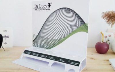 Stojak reklamowy na kosmetyki dla Dr Lucy